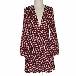 Lulus Floral Dress Size S Plunging V Neck Open Back Long Sleeve Above Knee Sexy